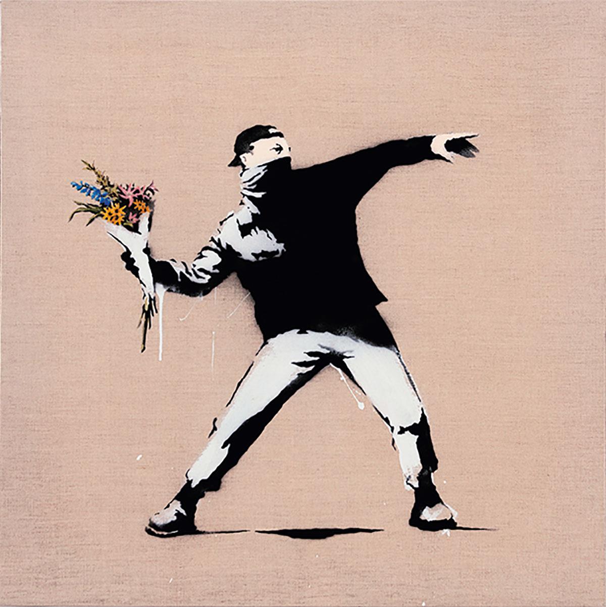 パレスチナのベツレヘム郊外で描かれたバンクシーの作家としての思想や活動家としての姿勢を象徴する一作。圧倒的な武力を誇るイスラエル軍に対して、投石やゴムパチンコで抗議したパレスチナ住民たちの運動をモチーフとしたもの。バンクシーは若者に石の代わりに花束をもたせた。バンクシー《ラヴ・イズ・イン・ジ・エア》Love Is In The Air 2006年 個人蔵