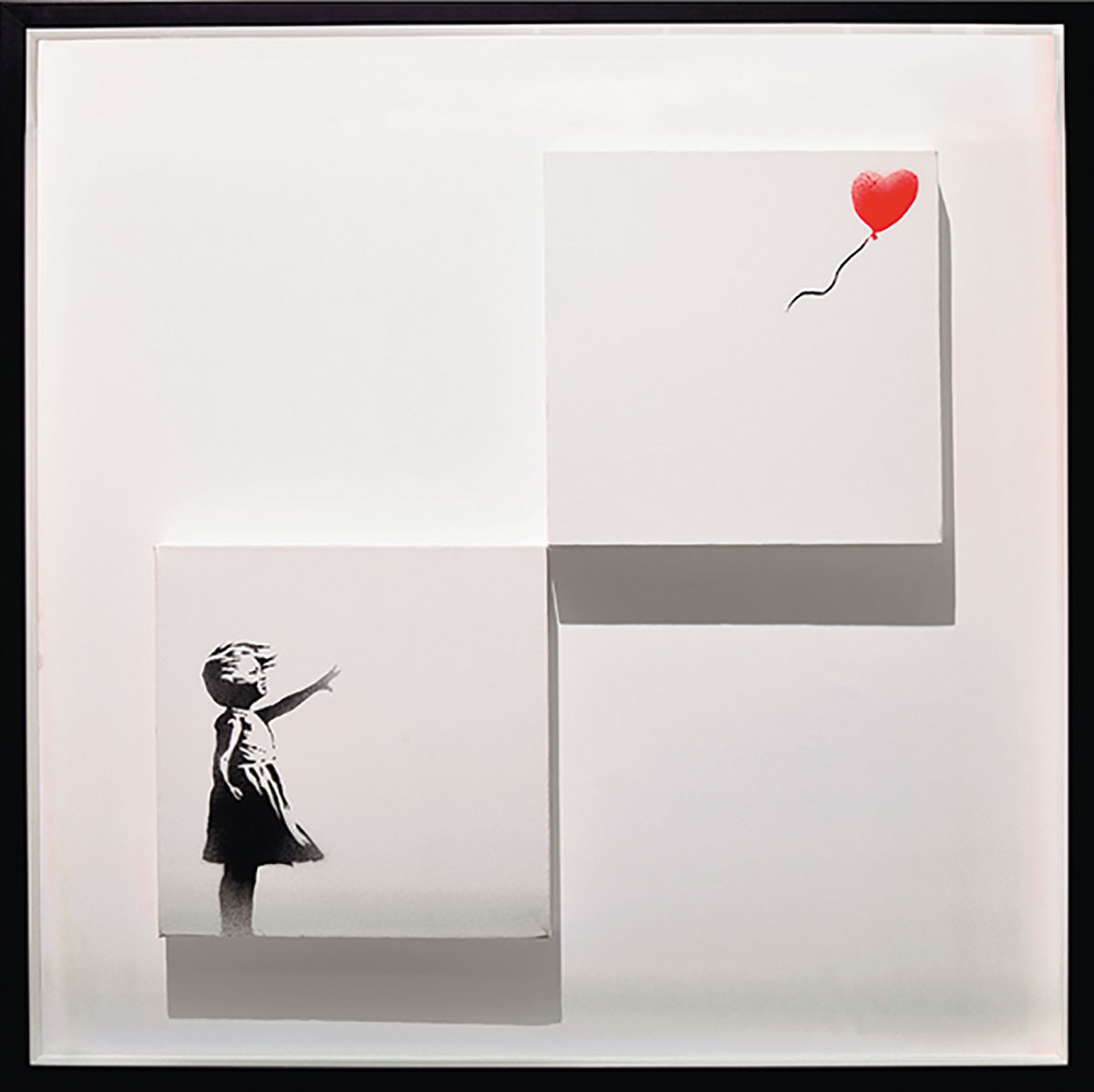 2002年にロンドンの路上で描かれて以降、世界各地で様々なバージョンで描かれているバンクシーの代表作。2018年、オークション「サザビーズ」で落札された直後に、額縁に仕込まれたシュレッダーが作動し、細切れにされてしまった作品もこの絵がモチーフ。バンクシー《風船と少女》 Girlwith Balloon(Diptych)2006年 個人蔵